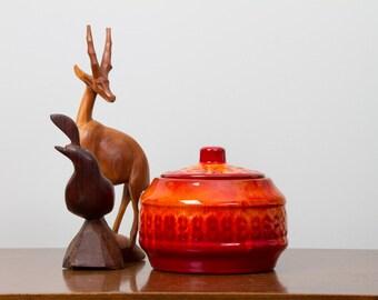 Fire Orange Lidded Pottery Jar