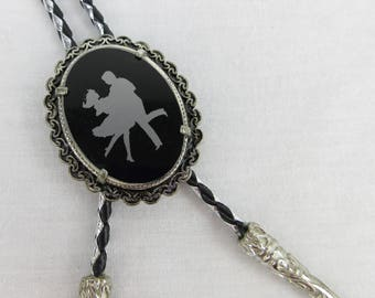 Vintage Square Dance Couple Bolo Tie, Black and Silver, Father's Day Chic