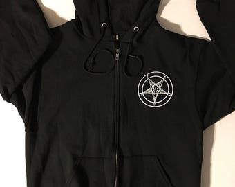 Pentagram Pocket Print w/ Baphomet Back print Men's Zipper Hoodie  Occult Witchcraft Evil Satan Wicca Satanic horror