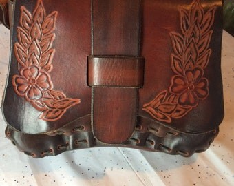 Dark brown Handtooled leather purse 70s hippie boho