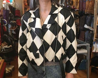 Vintage Retro Black and White Check Leather Jacket, De Bell