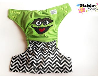 Oscar The Grouch One Size Cloth Diaper, Pocket Diaper (Photoshoot)