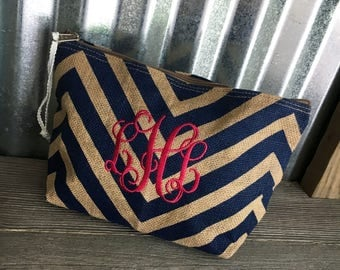 Cosmetic Bag/Navy Jute and Chevron Cosmetic Bag with Three Initial Monogram/Bridesmaid's Gifts/Wedding Party Gifts