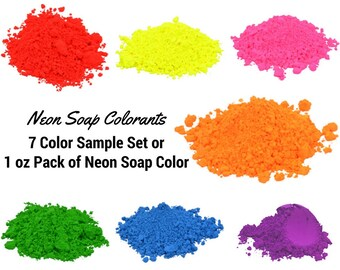 7 Neon Blue Soap Colorant Sample Pack, Neon Mica Powder, Oxide Pigment Powder, Iron Oxide Powder, Soap Making, Bath Bomb Colorant, Bath Bomb