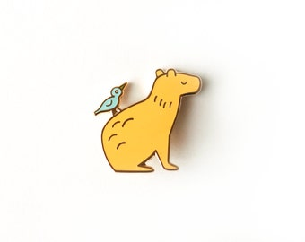 Capybara & Bird Friend Enamel Pin: Yellow