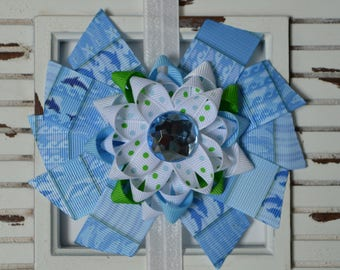 Blue and Green Dolphin Hair Bow
