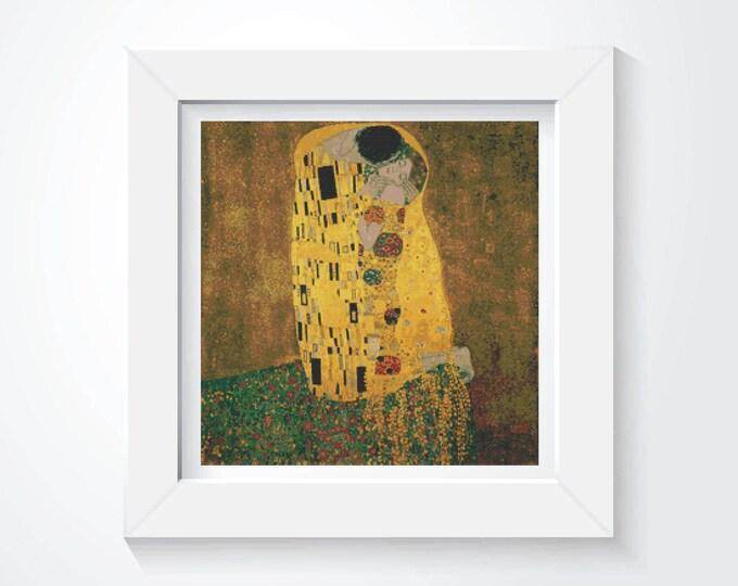 Cross Stitch Pattern PDF, Embroidery Chart, Art Cross Stitch, Woman Cross Stitch, The Kiss by Gustav Klimt by Love Cross Stitch (KLIMT04)