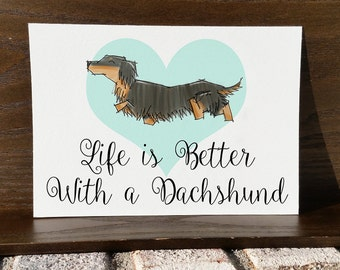 Long Hair Dachshund Art Print - 5x7 Illustration