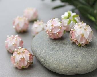 Lampwork Beads, Handmade Glass Beads, Glass Beads, Floral Lampwork, Lampwork Flower Beads, Lampwork Flower