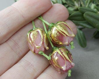 Lampwork Glass Beads, 1 pc Pink Rose Lampwork Glass beads, Lampwork Glass Beads, Lampwork Beads, Lampwork Flower Beads, Lampwork Flower