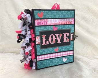 LOVE a Valentine premade mini scrapbook chipboard photo album