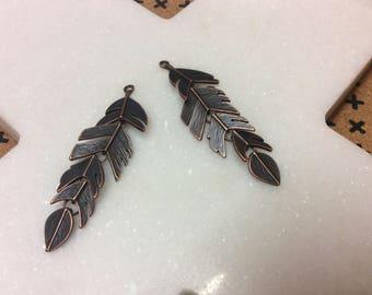 Antique copper tone leaf charm pendant