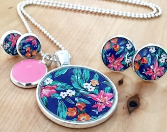 Tropical Pink and Blue Necklace Pattern and or Earrings