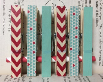 Photo Clips, Aqua and Red Decorated Clothespins