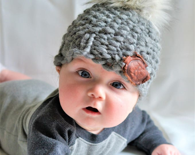 Featured listing image: Chunky Tweed Grey Baby Beanie