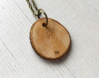 Rustic Wood Necklace: sustainable tree slice necklace, eco friendly wooden pendant, natural tree bark disc, perfect for mother's day gift