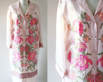 1970s Alfred Shaheen floral dress // hostess dress // vintage floral dress