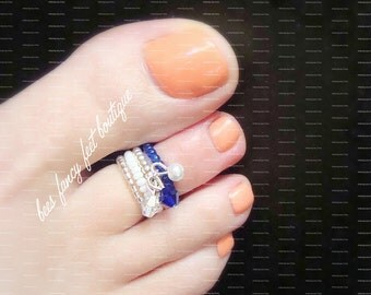 Stacking Toe Ring | Cobalt Blue | Crystal Charms | Stretch Bead Toe Ring