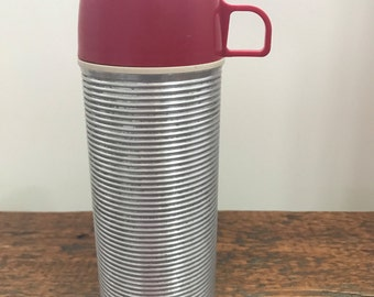 The American Thermos Bottle Co. Norwich Conn. Thermos - Stainless Steel with Red Top - A Brand of Vacuum Bottle