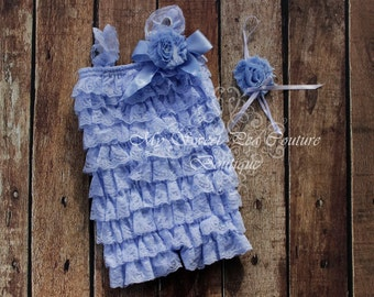 Light Blue Embelished Lace Petti Romper & Headband Set - Ruffle Romper Set- Romper- Baby Petti Romper- Headband- Photo Prop- Birthday Outfit