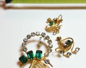 Vintage De Curtis 1/20 12K Gold Filled Brooch & Earring Set