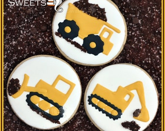 Construction Cookies, digger, dozer, dump truck (quantity: 12)