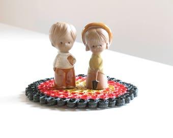 Vintage Jie Gantofta style salt and pepper shakers / brown clay children / lisa larsson swedish pottery child figurines