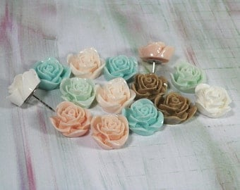 """Decorative Rose Push Pins, Set of 6 or 12, In 2 Lengths -1/4"""" and extra long 3/4""""-For School, Office, or Home Bulletin Boards Lucite Flowers"""