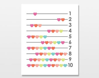Hearts Art Print, Counting Artwork, Numbers Wall Art, Baby Girl Nursery Decor