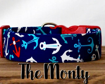 "Nautical Navy, Red & White Anchor Dog Collar ""The Monty"""