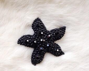 Vintage Brooch Black Starfish Pin Womens Fashion Nautical Accessories Beach Gifts For Her Metal Rhinestone
