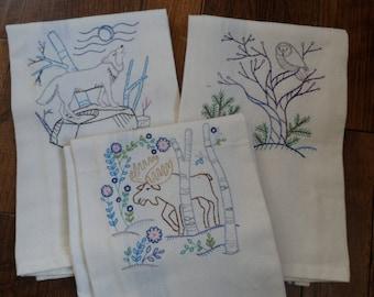 Set of Three Embroidered WOODLAND ANIMALS Blue Stripe Kitchen Tea Towels Wolf, Owl & Moose