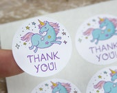 Unicorn Thank You Stickers - Unicorn Thank YouLabels - 1.25 Inch - 48 pieces
