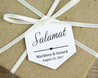 Salamat Tags - Thank You tags - Filipino Wedding - Wedding Favors - Philippines - Wedding Favor Tags - Destination Wedding - Hexagon Tags
