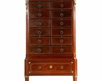 Excellent French Louis XVI Style Antique Mahogany and Leather Cartonnier Chest of Drawers, 19th Century