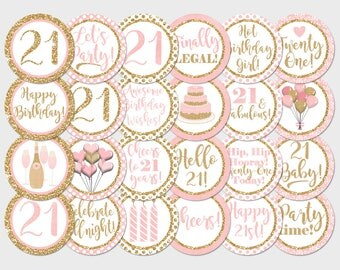 21st Birthday Cupcake Toppers, Blush Pink Gold Glitter Printable Toppers, Printable Birthday Party Decorations, 21 Old Birthday Toppers