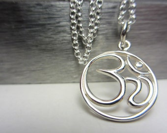 925 Sterling Silver Ohm Necklace Yoga Necklace Om Necklace Spiritual Everyday Jewelry Layering Necklace Yoga Pendant Gift for Her