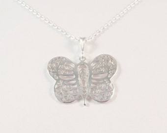 Butterfly, Moth, Sterling Silver Butterfly Necklace, Butterfly Necklace, Insect Necklace, Filigree Necklace, Moth Necklace,