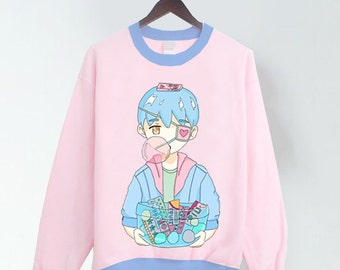 Bubble Gum Boy Pink Pastel T-shirt/Sweater with blue trims!