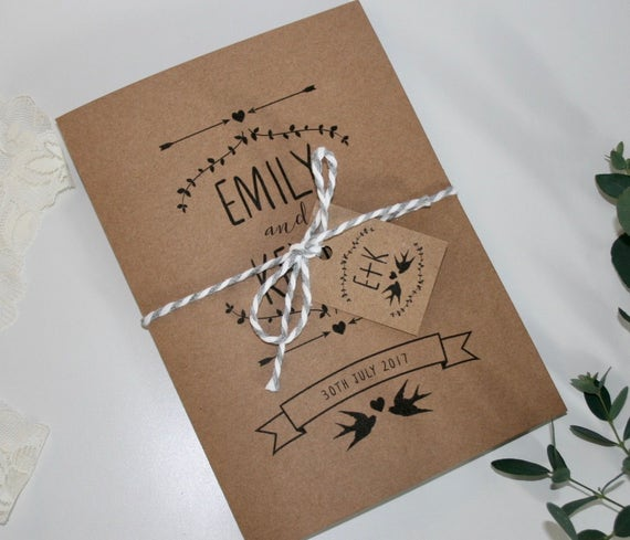 Rustic Wedding Invitation Bundle SAMPLE - Invitation, RSVP, Envelopes, Tag and Twine - 5x7 invite & A6 RSVP - Kraft Recycled - Birds Foliage