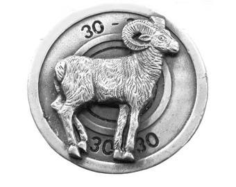 Vintage Ram Goat Belt Buckle - 30-30 ammo Cartridge - Bullet - Animal - Horns - Hunting - Mountain Goat - Gift Idea - Animal