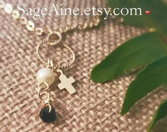 SageAine: Sapphire, Pearl Gold Cross Necklace, September Birthstone, Third Eye Chakra, Auric Shield, Archangels Metatron & Zadkiel, Reiki