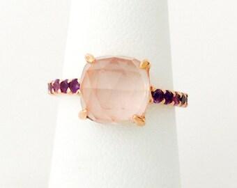 Faceted Rose-cut Rose Quartz Purple Amethyst 18K Rose Gold Vermeil Ring