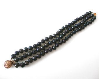 Three Strand Black Cultured Pearl Bracelet With Vermeil Sterling Silver Clasp