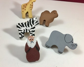 Noahs Ark Wood Painted Button Covers