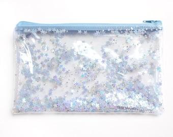 Blue Star /  Pencil case, Transparent wallet, Clear bag, Purse organizer, glitter bag