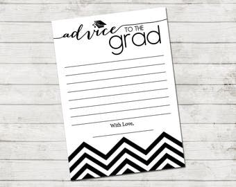 Advice to the Grad - Graduate Advice Card - Chevron Stripes - Black and White - Printable - INSTANT DOWNLOAD