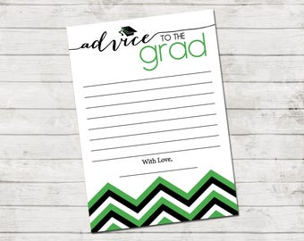 Advice to the Grad - Graduate Advice Card - Chevron Stripes - Green Black and White - Printable - INSTANT DOWNLOAD