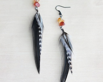 Black & White Feather Earrings with Citrine