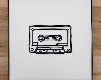 Framed Cassette Linocut Print // 8x8 inches